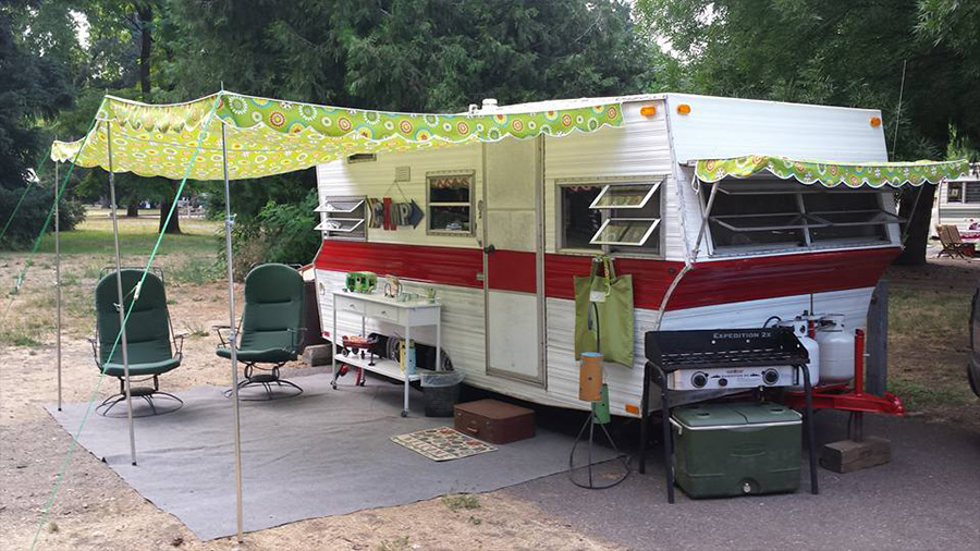 Whether You Call It A Vintage Trailer Camper Coach Or Caravan Just Isnt Complete Without Custom Awning From Pink Flamingo Awnings